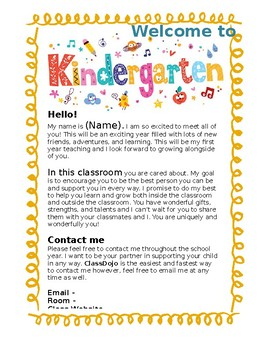 Kindergarten Welcome Letter EDITABLE by Kindly K | TpT