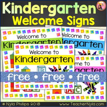 Kindergarten Welcome Signs - Free