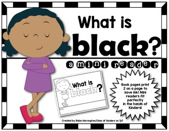 Kindergarten {What is Black?} Early Emergent Reader for Re