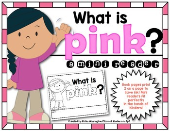 Kindergarten {What is Pink?} Early Emergent Reader for Reading Workshop