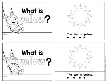 Kindergarten {What is Yellow?} Early Emergent Reader for Reading Workshop