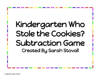 Kindergarten Who Stole the Cookies? Subtraction Game