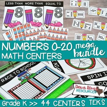 Kindergarten Whole Numbers 0-20 Math Centers Bundle (TEKS & CCSS)
