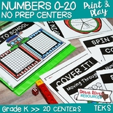 Kindergarten Whole Numbers 0-20 No Prep Math Centers (TEKS & CCSS)