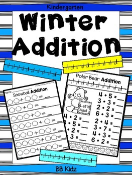 Kindergarten Winter Addition pages using a number line