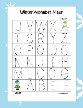 Kindergarten Winter Alphabet Maze (3 Total)