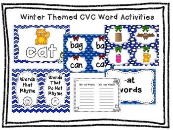 Kindergarten Winter CVC Activities