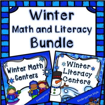 Kindergarten Winter Center Bundle - 14 Winter Math and Literacy Centers