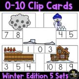 Kindergarten Math Winter Counting 0-10 Clip Card Center