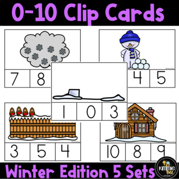 Kindergarten Math Winter Counting 0-10 Clip Card Center