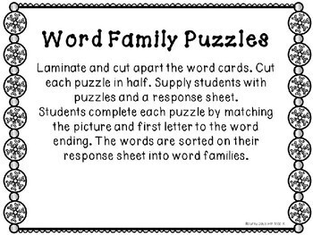 Kindergarten Winter Literacy Center - Word Family Center