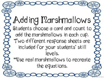 Kindergarten Winter Math Center - Adding Marshmallows