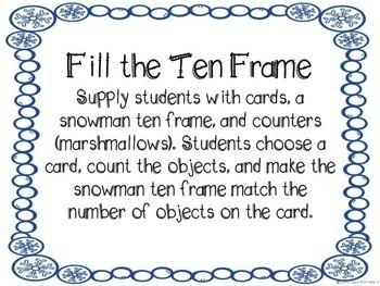 Kindergarten Winter Math Center - Fill the Ten Frame