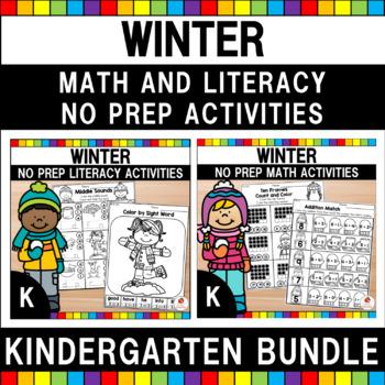 Kindergarten Winter Math & Literacy Worksheets Bundle (Com