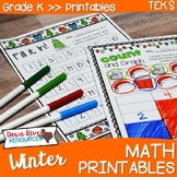 Kindergarten Winter Math No Prep Printables {TEKS/CCSS}