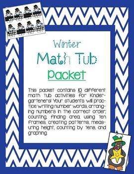 Kindergarten Winter Math Tubs Packet - 10 Activities