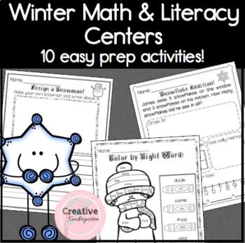 Kindergarten Winter Math and Literacy Centers