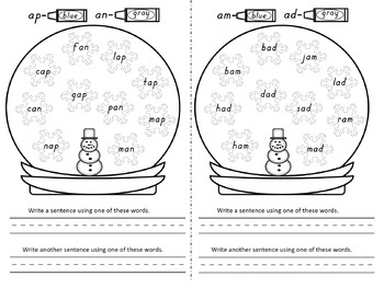 Kindergarten Winter Math and Literacy No Prep Black & White Worksheets & Centers