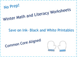 Kindergarten Winter Math and Literacy No Prep Black & Whit