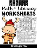 Kindergarten Winter Math and Literacy Worksheets