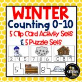 Kindergarten Math Winter Numbers Counting 0-10 Center Bundle