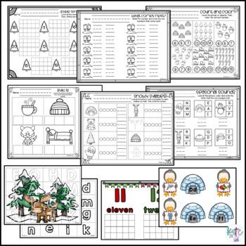Kindergarten Winter Printable and Center Pack