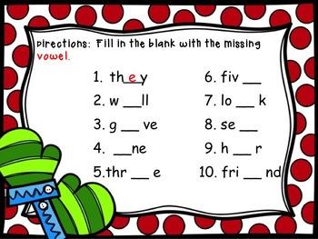 Kindergarten Winter Sight Word Practice Literacy Centers CCSS