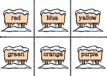 Kindergarten Winter Sight Words Flash Cards