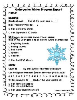 Kindergarten Winter Progress Report for Parent Teacher Conferences