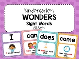 Kindergarten Wonders ALL Units- HFW/Sight Word Cards