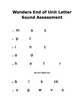Kindergarten Wonders End of Unit Letter Sound Assessment