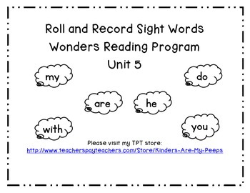 Kindergarten Wonders Reading Roll and Record sight words unit 5
