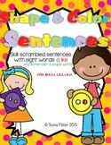 Kindergarten Wonders Reading Shape & Color Sentences Sight Word  Unit 2