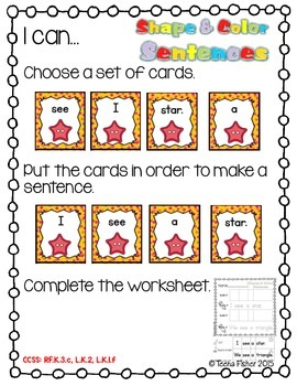 Kindergarten Wonders Reading Shape & Color Sentences Sight Word  Unit 2