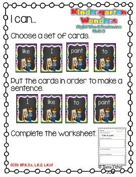 Kindergarten Wonders Reading Unit 3 Sight Word Scrambled Sentences