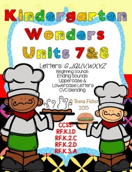Kindergarten Wonders Reading Unit 7 & 8 Phonics Pack