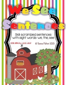 Kindergarten Wonders Reading We See Sentences Sight Word  Unit 1
