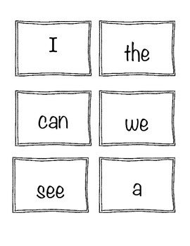 Kindergarten Wonders Sight Word Cards