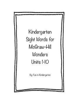 Kindergarten Wonders Sight Word Cards