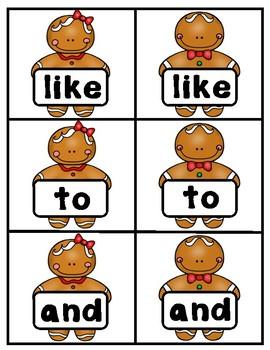 Christmas Kindergarten Wonders Sight Word Matching