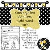 Kindergarten Wonders Sight Word Pack!