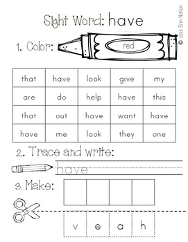 Kindergarten Sight Word Practice Sheets {for 43 high-frequency words}