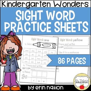 Kindergarten Wonders Sight Word Practice Sheets {for 43 hi