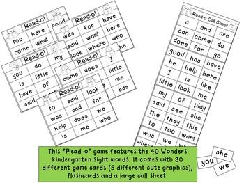 Wonders Kindergarten Sight Word Read-o Game {Bingo Style}