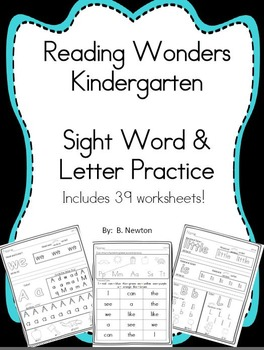 Kindergarten Wonders Sight Word and Letter Practice