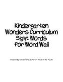Kindergarten Wonders Sight Words for Word Wall