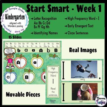 Kindergarten Wonders Start Smart Week 1 - Google Slides Activities