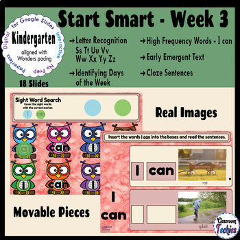 Kindergarten Wonders Start Smart Week 3 - Google Slides Activities