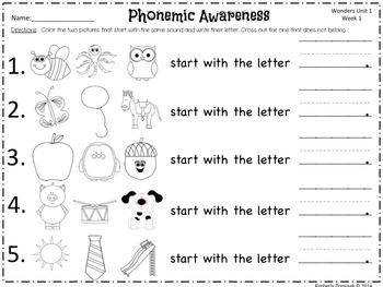 Wonders Reading for Kindergarten: Unit 1 Week 1 Extension Activities