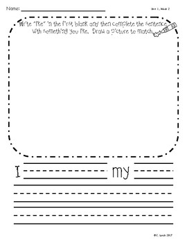 Kindergarten Wonders Unit 1 Writing Supplement Pack